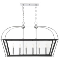 Savoy House 1-9075-6-67 Dunbar 6 Light 36 inch Matte Black/Polished Chrome Accents Linear Chandelier Ceiling Light in Matte Black with Polished Chrome