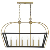 Savoy House 1-9075-6-79 Dunbar 6 Light 36 inch English Bronze and Warm Brass Linear Chandelier Ceiling Light