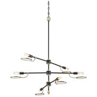 Oberyn 6 Light 35 inch Vintage Black with Warm Brass Chandelier Ceiling Light
