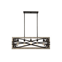 Amador 5 Light 38 inch Noblewood with Iron Trestle Ceiling Light