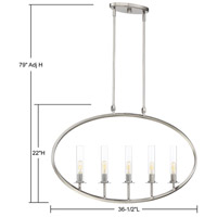 Hasting 5 Light 37 inch Brushed Pewter Island Chandelier Ceiling Light
