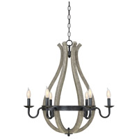 Carrolton 6 Light 27 inch Weathered Birch Chandelier Ceiling Light