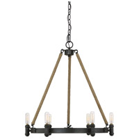 Piccardy 6 Light 22 inch Rustic Black with Rope Chandelier Ceiling Light