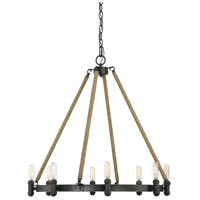 Piccardy 8 Light 26 inch Rustic Black with Rope Chandelier Ceiling Light