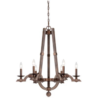 Savoy House Berwick 6 Light Chandelier in Dark Wood and Guilded Bronze 1-9600-6-327