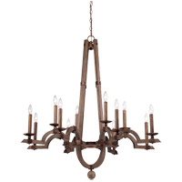 Savoy House Berwick 12 Light Chandelier in Dark Wood and Guilded Bronze 1-9602-12-327