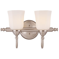 Brunswick 2 Light 17 inch Satin Nickel Bath Bar Wall Light, Glass Sold Separately