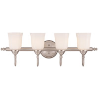 Savoy House Brunswick Bath 4 Light Vanity Light in Satin Nickel (Glass Sold Separately) 1062-4-SN