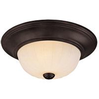 Signature 2 Light 11 inch English Bronze Flush Mount Ceiling Light in Cream Ribbed Scavo