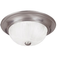 Signature 2 Light 11 inch Satin Nickel Flush Mount Ceiling Light in Ribbed Marble