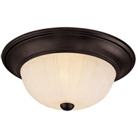 Signature 2 Light 13 inch English Bronze Flush Mount Ceiling Light in Cream Ribbed Scavo