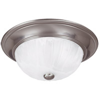 Signature 2 Light 13 inch Satin Nickel Flush Mount Ceiling Light in Ribbed Marble