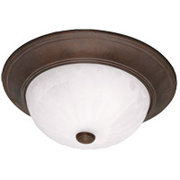 Signature 3 Light 15 inch Brownstone Flush Mount Ceiling Light in Ribbed Marble