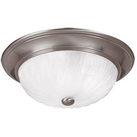 Signature 3 Light 15 inch Satin Nickel Flush Mount Ceiling Light in Ribbed Marble