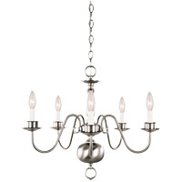 Williamsburg 5 Light Satin Nickel Chandelier Ceiling Light