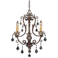 Elizabeth 3 Light 19 inch New Tortoise Shell/Silver Chandelier Ceiling Light
