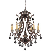 Elizabeth 6 Light 27 inch New Tortoise Shell with Silver Chandelier Ceiling Light
