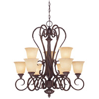 Savoy House Bellingham 9 Light Chandelier in Bark and Gold 1P-8287-9-52