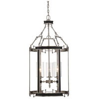 Gramercy 3 Light 18 inch Polished Pewter/Black Leatherette Foyer Ceiling Light in Clear