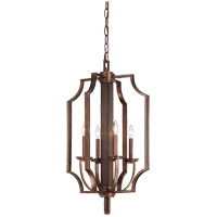 Savoy House Saitama 4 Light Foyer in Dark Wood and Guilded Bronze 3-5207-4-327