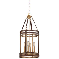 Savoy House Harrington 4 Light Foyer Light in Harness Leather with Rubbed Brass 3-612-4-50