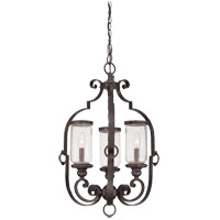 Savoy House Highlands 3 Light Foyer Pendant in Forged Black 3-6984-3-17