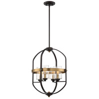 Kirkland 4 Light 17 inch English Bronze and Warm Brass Foyer Pendant Ceiling Light