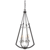Dinant 4 Light 16 inch Matte Black with Polished Chrome Accents Foyer Lantern Ceiling Light