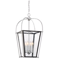 Savoy House 3-9074-4-67 Dunbar 4 Light 14 inch Matte Black with Polished Chrome Accents Foyer Pendant Ceiling Light photo thumbnail