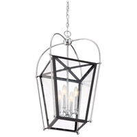 Savoy House 3-9074-4-67 Dunbar 4 Light 14 inch Matte Black with Polished Chrome Accents Foyer Pendant Ceiling Light alternative photo thumbnail