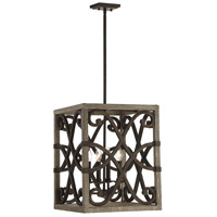 Amador 4 Light 16 inch Noblewood with Iron Foyer Lantern Ceiling Light