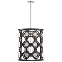 Chennal 8 Light 19 inch Bronze and Chrome with Antique Mirror Accents Foyer Lantern Ceiling Light
