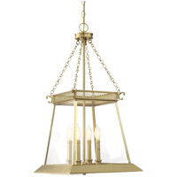 Norwich 4 Light 16 inch Warm Brass Lustre Foyer Ceiling Light