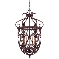 Bellingham 6 Light 22 inch Bark and Gold Foyer Ceiling Light, Cage