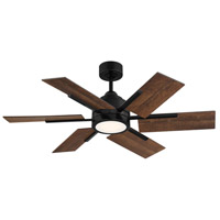 Savoy House 44-770-6AO-89 Farmhouse II 44 inch Matte Black with Antique Oak Blades Indoor/Outdoor Ceiling Fan