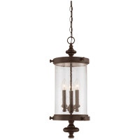 Palmer 3 Light 9 inch Walnut Patina Hanging Lantern Ceiling Light in Clear Seeded