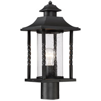 Dorado 1 Light 18 inch Black Post Lantern in Clear Seeded