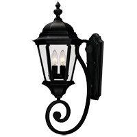 Textured Black Glass Outdoor Wall Lights
