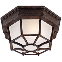 Exterior 1 Light 9 inch Rustic Bronze Flush Mount Ceiling Light in Frosted