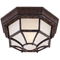 Exterior 1 Light 11 inch Rustic Bronze Flush Mount Ceiling Light in Frosted