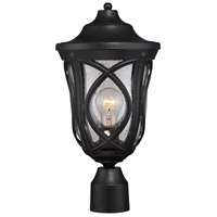 Highgate 1 Light 17 inch Black Outdoor Post Lantern in Clear Seeded
