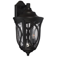 Highgate 3 Light 11 inch Black Outdoor Lantern in Clear Seeded