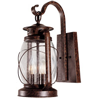 Smith Mountain 3 Light 17 inch New Tortoise Shell Outdoor Wall Lantern in Clear Seeded