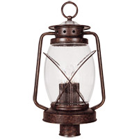 Smith Mountain 3 Light 21 inch New Tortoise Shell Post Lantern in Clear Seeded