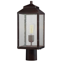Brennan 1 Light 18 inch English Bronze/Gold Outdoor Post Lantern in Clear Seeded