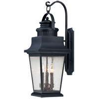 Barrister 3 Light 28 inch Slate Outdoor Wall Lantern in Clear Seeded