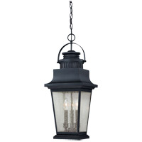 Barrister 3 Light 10 inch Slate Hanging Lantern Ceiling Light in Clear Seeded
