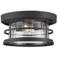 Barrett 2 Light 13 inch Black Outdoor Flush Mount