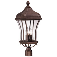 Realto 3 Light 24 inch Walnut Patina Post Lantern in Clear Beveled