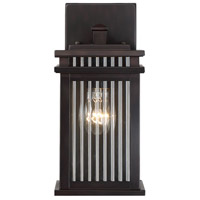Radford 1 Light 12 inch English Bronze Outdoor Wall Lantern in Clear Ribbed
